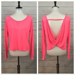 Lorna Jane Neon Pink Twisted Open Back Top